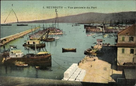 Ak Beirut Beyrouth Libanon, Vue générale du Port