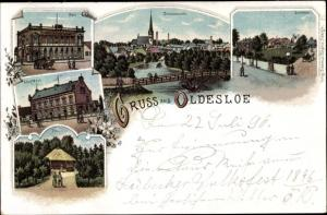 Litho Bad Oldesloe in Schleswig Holstein, Post, Solbad, Stadthaus, Pavillon
