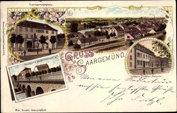 Litho Saargemünd Sarreguemines Lothringen Moselle, Landgerichtsplatz, Postamt, Töchterschule