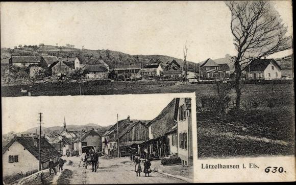 Ak Lützelhausen Elsass Bas Rhin, Gesamtansicht, Straßenpartie