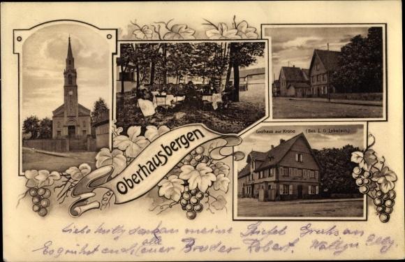 Ak Oberhausbergen Bas Rhin, Kirche, Gasthaus zur Krone