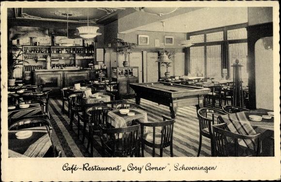 Ak Scheveningen Den Haag Südholland, Cafe Restaurant Cosy Corner, Billard, Badhuisweg