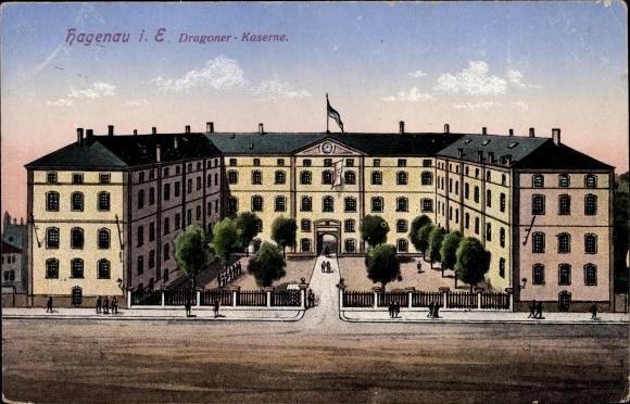 Ak Haguenau Hagenau Elsass Bas Rhin, Dragoner Kaserne
