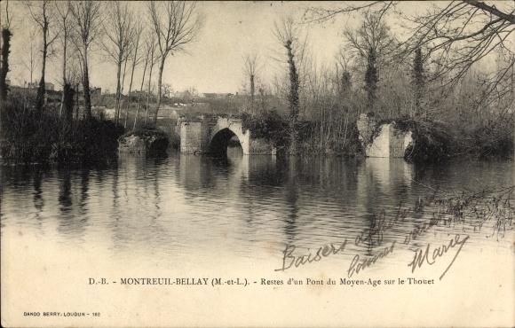 Ak Montreuil Bellay Maine et Loire, Reste d'un Pont du Moyen Age