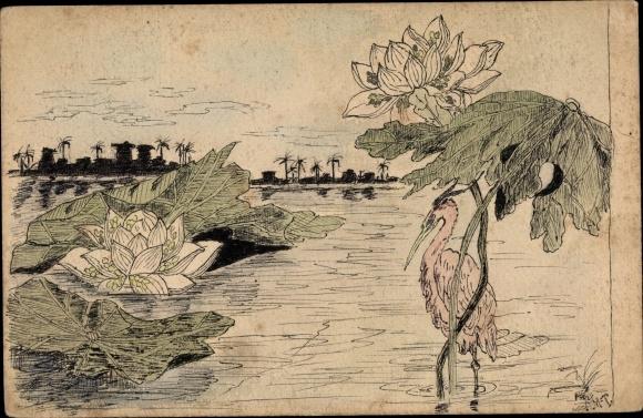 Handgemalt Ak Reiher im Wasser, Seerosen, Blumen