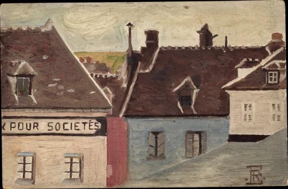Handgemalt Ak Stadtpartie, Häuser, Pour Societés