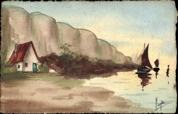 Handgemalt Ak Magda, Küstenpartie, Segelboot