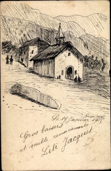 Handgemalt Ak Jacquet, Francoise, Kirche im Gebirge