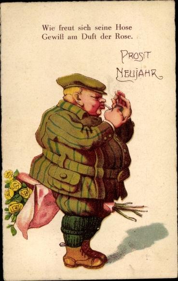 Ak Glückwunsch Neujahr, Dicker Mann mit Rosenstrauß, Pfeife