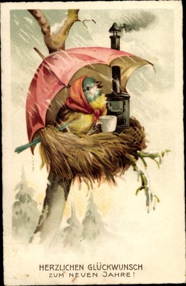 Ak Glückwunsch Neujahr, Vermenschlichter Vogel im Nest, Ofen