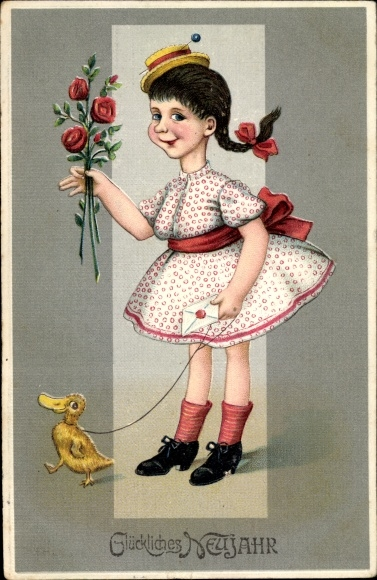 Präge Ak Glückwunsch Neujahr, Mädchen mit Entenküken, Rosen