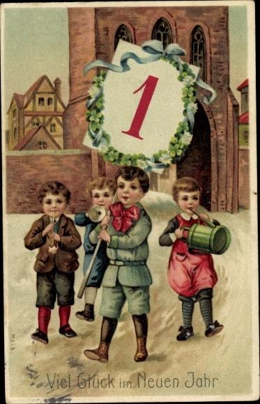 Präge Litho Glückwunsch Neujahr, Kinder, Kalenderblatt 1, Kleeblätter