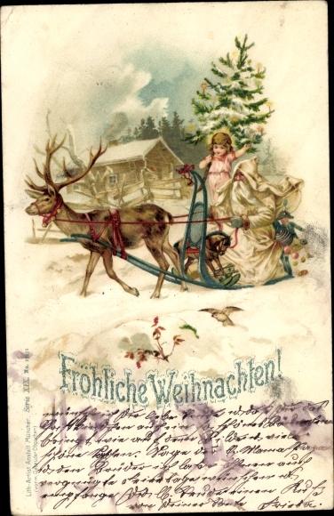 Litho Glückwunsch Weihnachten, Weihnachtsmann, Schlitten, Schaukelpferd, Tannenbaum
