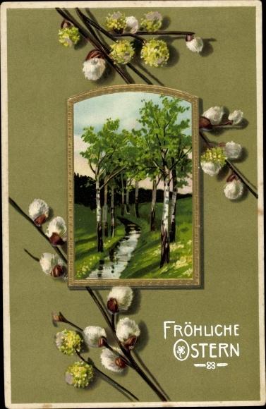 Passepartout Präge Litho Glückwunsch Ostern, Weidenkätzchen, Frühlingslandschaft