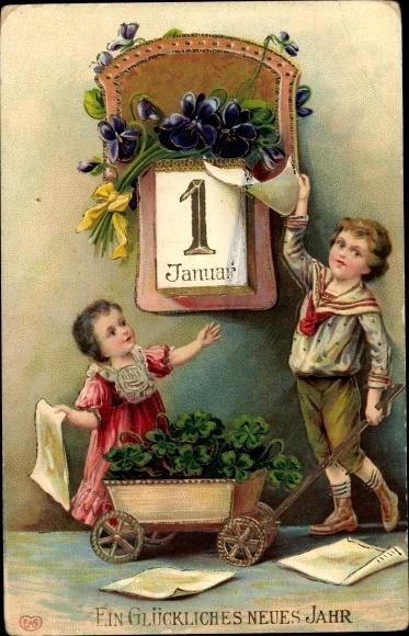 Präge Litho Glückwunsch Neujahr, Abreißkalender, Kleeblätter, Veilchen, Kinder, Handkarren, EAS