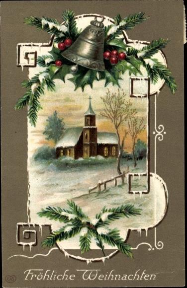 Winter Litho Glückwunsch Weihnachten, Kirche, Glocke, Stechpalmenzweig, EAS