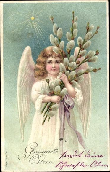 Präge Litho Glückwunsch Ostern, Engel mit Weidenkätzchen