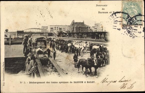 Ak Barnum Bailey, Déchargement des trains spéciaux