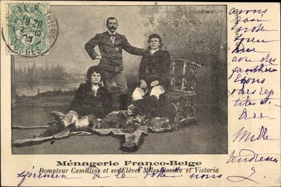 Ak Ménagerie Franco Belge, Dompteur Camillius et ses Elèves Miles Rosina et Victoria