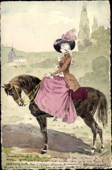 Handgemalt Ak Dame zu Pferde