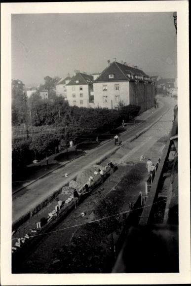 Foto Gera in Thüringen, Straßenpartie, Kanalarbeiten