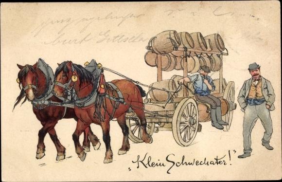 Künstler Ak Pferdewagen, Bierkutscher, Transport von Bierfässern, Klein Schwechater