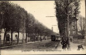 Ak Le Bourget Seine-Saint-Denis, Rue de Flandre, Station des Tramways