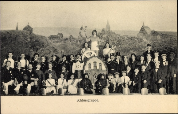 Ak Freiberg im Kreis Mittelsachsen, Theaterszene, Schlussgruppe, Studenten der Bergakademie?