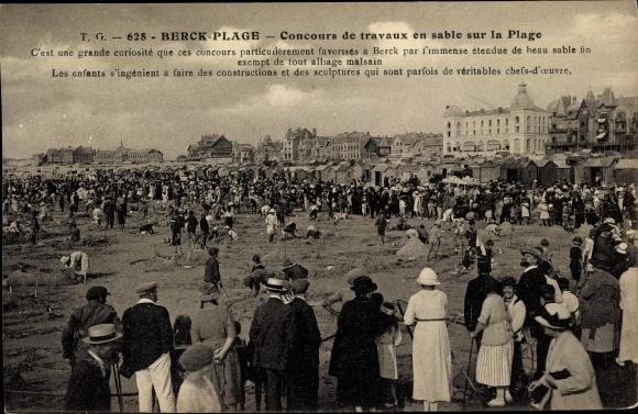 Ak Berck Plage Pas de Calais, Concours de travaux en sable, Sandburgen Wettbewerb