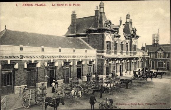 Ak Berck Plage Pas de Calais, Gare, Poste