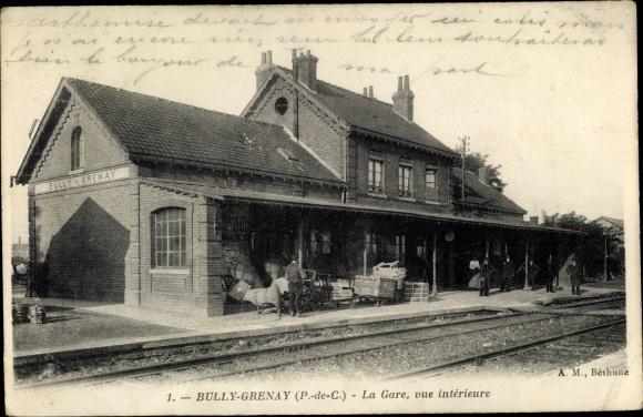 Ak Bully Grenay Pas de Calais, Gare, vue interieure
