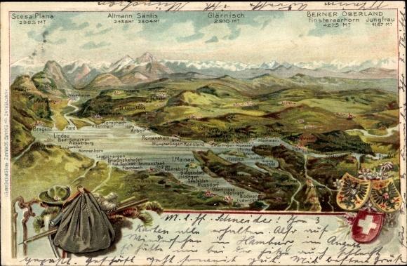 Landkarten Präge Wappen Litho Schweiz, Berner Oberland, Mainau, Bodensee, Säntis, Glärnisch
