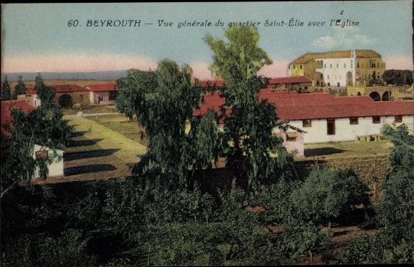 Ak Beirut Beyrouth Libanon, Vue générale du quartier Saint Élie avec l'Eglise