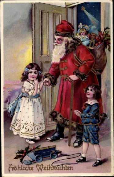 Präge Ak Frohe Weihnachten, Weihnachtsmann, Bescherung, Kinder, Geschenke, Stechpalme, Puppen