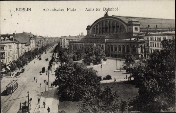 Ak Berlin Kreuzberg, Askanischer Platz, Anhalter Bahnhof