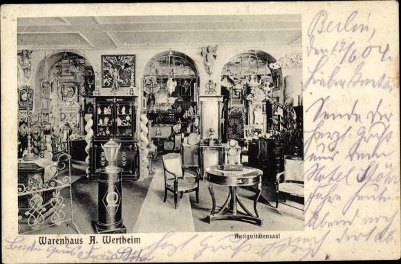 Ak Berlin Mitte, Warenhaus A. Wertheim, Antiquitätensaal