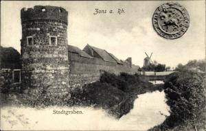 Ak Zons Dormagen Niederrhein, Stadtgraben, Turm, Windmühle