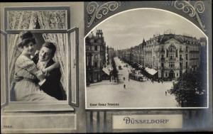Passepartout Ak Düsseldorf am Rhein, Graf Adolf Straße, Paar am Fenster