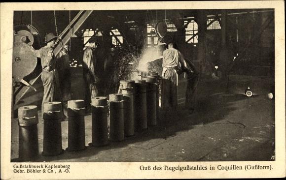 Ak Kapfenberg Steiermark, Gussstahlwerk Gebr. Böhler & Co., Guss des Tiegelgussstahles in Coquillen
