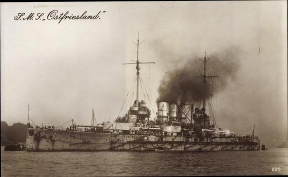 Ak Deutsches Kriegsschiff SMS Ostfriesland 0