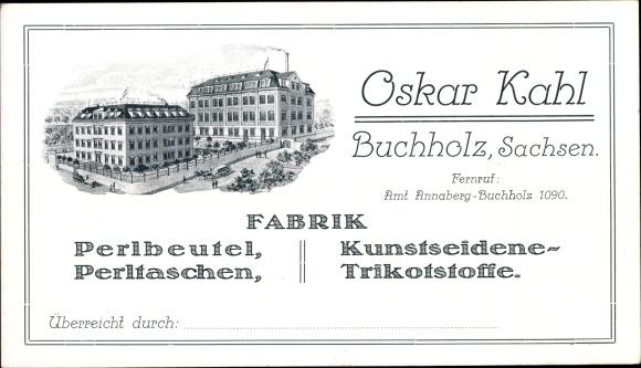Künstler Ak Annaberg Buchholz Erzgebirge, Fabrik Oskar Kahl, Perlbeutel, Kunstseidene Trikotstoffe