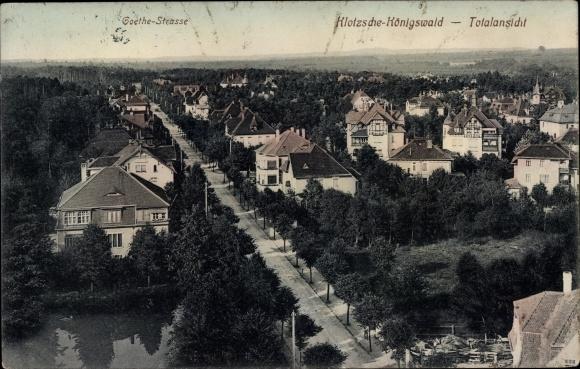 Ak Dresden Klotzsche Königswald, Goethestraße, Blick über die Dächer der Stadt