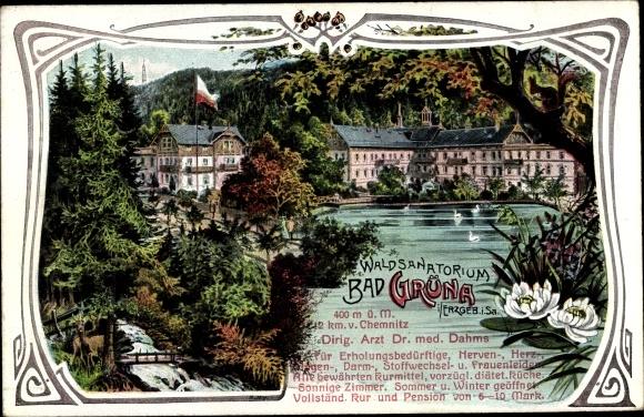 Passepartout Ak Grüna in Sachsen, Waldsanatorium, Bad, Dr. Dahms