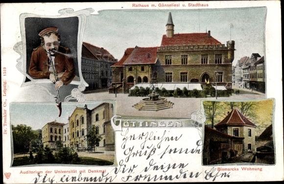 Ak Göttingen, Rathaus, Gänseliesl, Stadthaus, Universität, Bismarcks Wohnung
