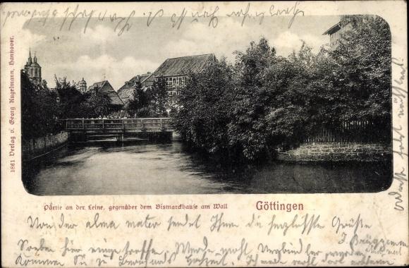 Ak Göttingen in Niedersachsen, Leine, Bismarckhaus am Wall
