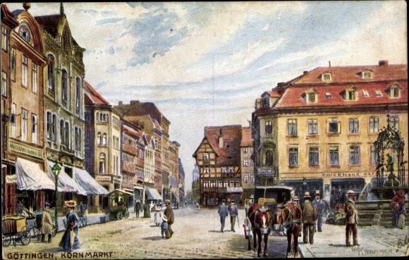 Künstler Ak Krahmer, W., Göttingen, Kornmarkt, Tuck 600 B