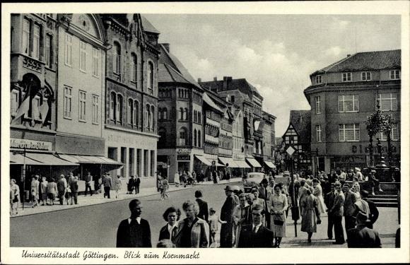 Ak Göttingen in Niedersachsen, Kornmarkt, Geschäfte