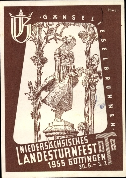 Künstler Ak Göttingen, Niedersächsisches Landesturnfest 1955, Gänselieselbrunnen