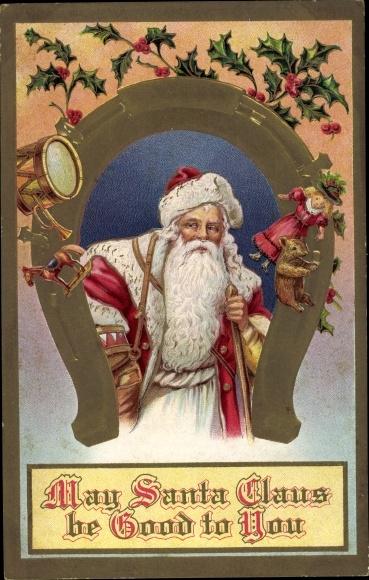 Präge Ak Frohe Weihnachten, Weihnachtsmann, Santa Claus, Hufeisen