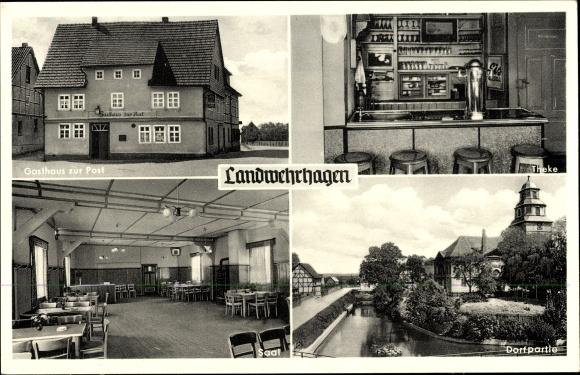 Ak Landwehrhagen Staufenberg an der Weser, Gasthaus Zur Post, Theke, Saal, Dorfpartie
